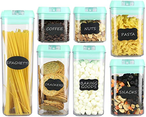 Airtight Food Storage Containers - 7 pc Set - Shatterproof Plastic Food Containers - Mint Green Airtight Lids - BPA-Free Food Storage Boxes - Includes 24 Free Chalkboard Labels and 1 White Marker (Mint Green Kitchen Canisters)
