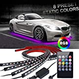 Car Underglow Lights,EJ's SUPER CAR Underglow Underbody System Neon Strip Lights Kit,8 Color Neon Accent Lights Strip,Sound Active Function and Wireless Remote Control 5050 SMD LED Light Strips