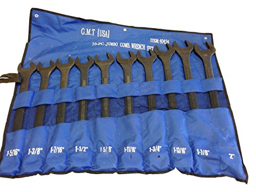 10PC JUMBO BLACK OXIDE RAISED PANELS WRENCH SET SAE STANDARD EXTRA LARGE TOOL --P#EWT43 65234R3FA423434
