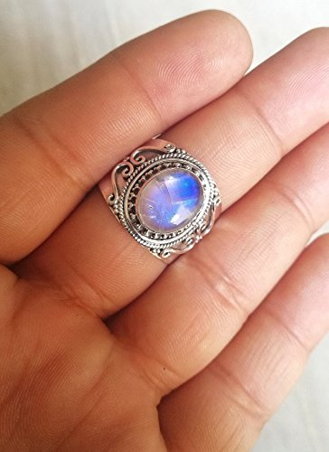 Blue Fire Moonstone Ring, Gemstone Ring, Vintage Ring, Delicate Ring, Post Ring, Birthday Gift, Handmade Ring, Sterling Silver Ring, 925 Silver Ring, Gemstone Ring, Oval Shape Moonstone Ring