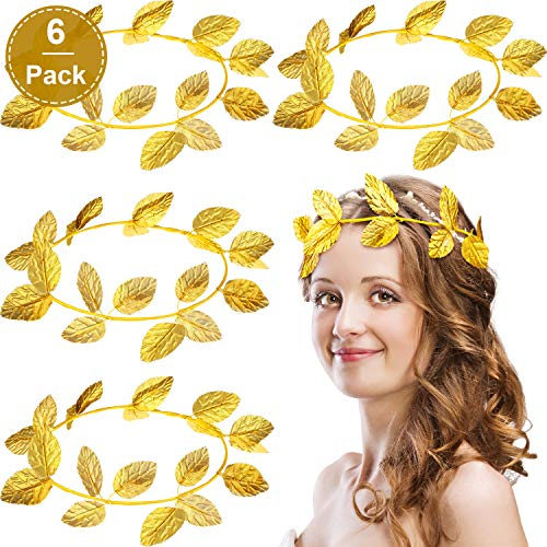 WILLBOND 6 Pieces Roman Wreath Bay Leaf Headband Gold Ring Headband Masquerade Decoration Knit Cloth Headdress Party