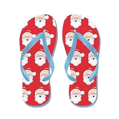 Lplpol Cute Fun Christmas Santa Claus Pattern FILP Flop for Kids Adult Beach Sandals Pool Shoes Party Slippers Black Pink Blue Belt for Chosen