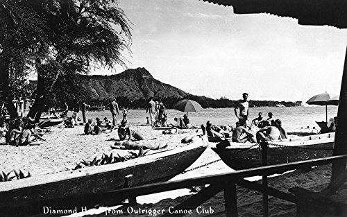 Hawaii - O'ahu Island; Diamond Head from Outrigger Canoe Club - Vintage Photograph (12x18 Fine Art Print, Home Wall Decor Artwork Poster)