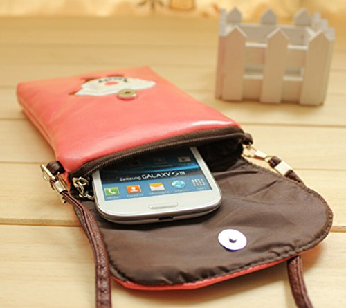 (Green Girl) Popular PU Leather Cellphone Bag Super Cute 3D Cartoon Pattern Crossbody Shoulder Bag Fashion Purse with 2 Pouches for Carrying Appple iPhone 6 Plus,6+,iphone 6/5/5s,Samsung Galaxy Note 4/Note3/Note2,Galaxy S5/S4/S3,LG,HTC,HUAWEI and Other Cell Phones,ID Card,Pocket Money,Including Free Head Malory Logo Pouch Bag