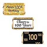 DISTINCTIVS 100th Birthday Party Miniatures Candy Bar Wrapper Stickers - Gold and Black (Set of 54)