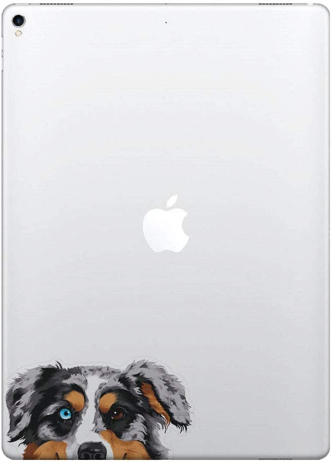 FINCIBO 5 x 5 inch Merle Aussie Australian Shepherd Dog Removable Vinyl Decal Stickers for iPad MacBook Laptop (Or Any Flat Surface)