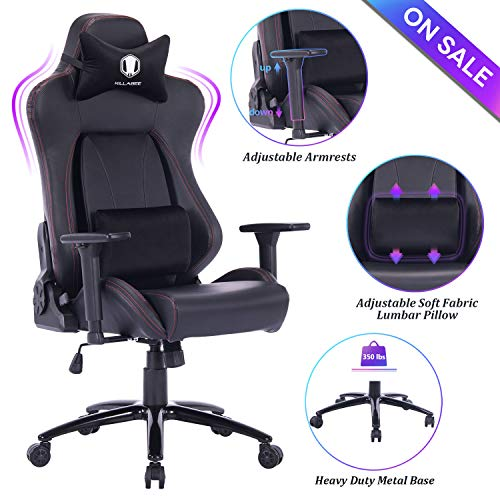 KILLABEE Big and Tall Gaming Chair Racing Office Chair – Adjustable Back Angle, Soft Fabric Lumbar Support and Arms Ergonomic High-Back Leather Computer Desk Swivel Chair w/Metal Base, Black
