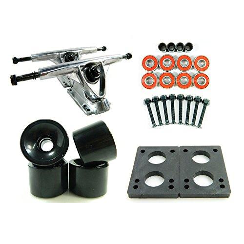 180mm Polished Trucks 70mm Wheels Combo (Solid Black) ()