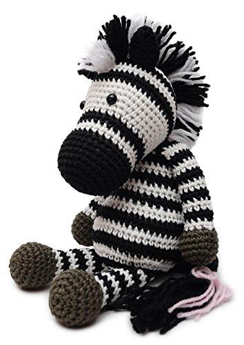 VietsWay Black-White Zebra Handmade Amigurumi Stuffed Toy Knit Crochet Doll VAC