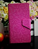 Diamond Veins Luxury PU Leather Flip Stand With Card Slot Wallet Case Cover For Vodafone Smart 4 Mini (Rose Red)