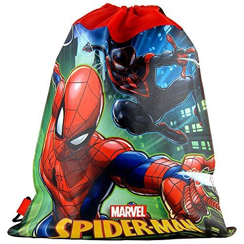 Disney Marvel Spider-Man 14-inch Sling Bags Drawstring Cinch Sack Totes, 6-Pack]()