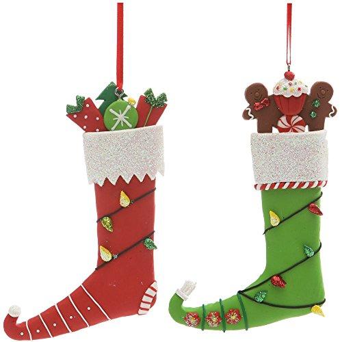 Christmas Holiday Handmade Clay Elf Stocking Ornament - Assorted, 5