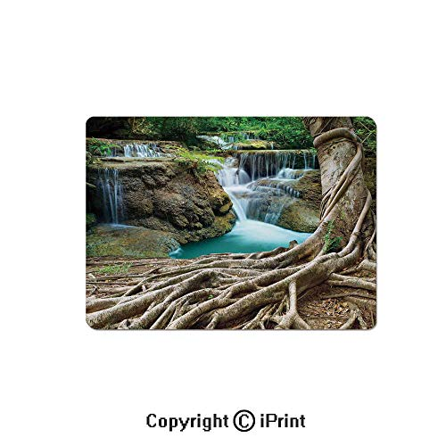 - Gaming Mouse Pad Custom,Aged Tree Roots and Waterfall Landscape in Deep Forest Novelty on Earth Mouse Mat,Non-Slip Rubber Base Mousepad,7.9x9.5 inch,Blue Green Brown
