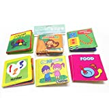 Set of 6 Baby Soft Cloth Books Nontoxic for 0-3 Years Old Babies, Intellegence Development Learning Shapes Number Character Cute Animals Color Food Fabric Book Quiet Rag Book