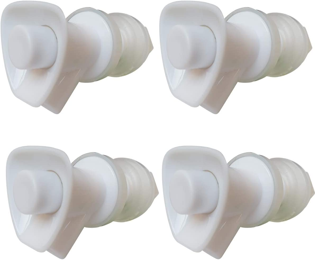 Replacement Cooler Faucet for Discharge of 45 Degrees - 4 White Water Dispenser Tap - Push Button Plastic Spigot.(Pack of 4)