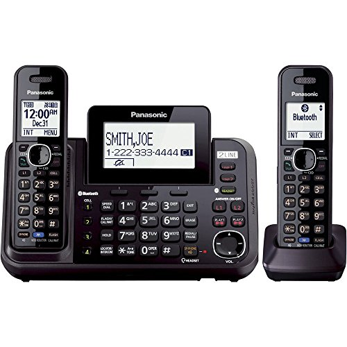 Panasonic 2-Line Cordless Phone System with 2 Handsets - Answering Machine, Link2Cell, 3-Way Conference, Call Block, Long Range DECT 6.0, Bluetooth - KX-TG9542B (Black)
