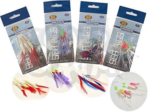 4 Packs Bass And Mackerel Herring Feathers Lure Lures Sea Boat Fishing Rigs