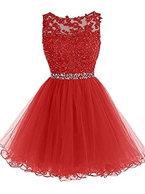 HEIMO Women's Beaded Homecoming Dresses Short Lace Appliques Prom Gowns H108