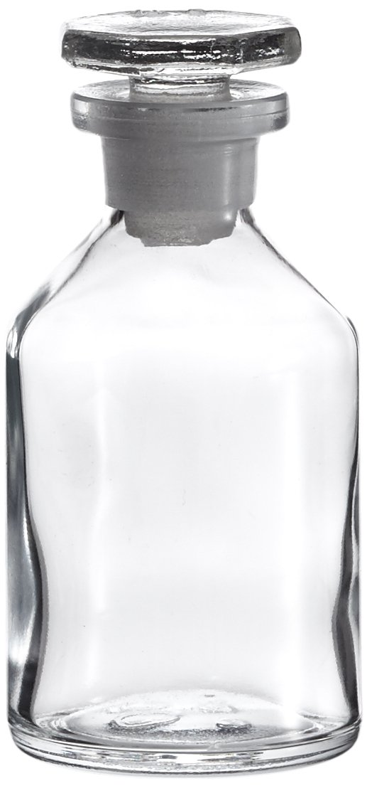 neoLab E-1437 ecoLAB Conical Shoulder Bottle, Clear Glass 50 ml EH, Glass Stopper,  NS14/23  NS14/23