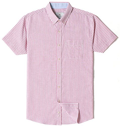 Chain Stitch Mens Short Sleeve Washed Cotton Stripe Casual Button-Down Shirt Red XX-Large