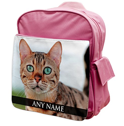 personalisierbar Bengal Cat Animal Pink Rucksack Rucksack 033