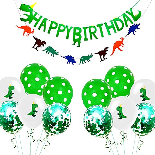 Dinosaur Party Supplies Happy Birthday Banner Party Favors Decorations Confetti Green White Polka Dot Balloons Dino Birthday Jungle Theme Party Supplies (14 Pack)]()