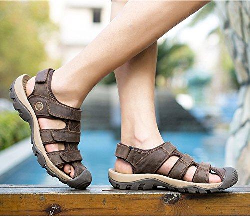 scarpe scarpe sandali uomo da estivi spiaggia traspiranti leggeri antiscivolo uomo suole deepbrown morbidi Pakamo NANXIE in pelle e maschili da da sandali gomma vera in Sandali tBcwOZ