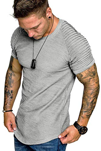 COOFANDY Men's Muscle T-Shirt Pleated Raglan Sleeve Bodybuilding Gym Tee Short Sleeve Fashion Workout Shirts Hipster Shirt