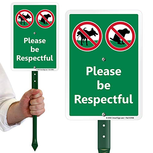"SmartSign ""Please Be Respectful"" No Dog Pooping or Peeing Sign for Lawn 