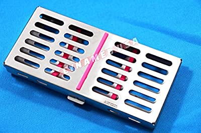 New Premium German Stainless Dental Autoclave Sterilization Cassette Rack Box Tray for 7 Instruments-Pink