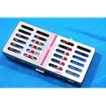 New Premium German Stainless Dental Autoclave Sterilization Cassette Rack Box Tray for 7 Instruments Pink