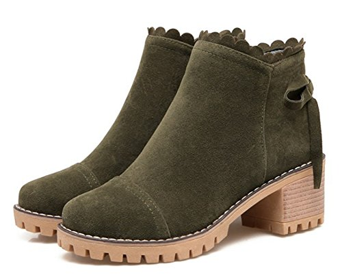 Green Aisun Block Suede Booties Army Toe Faux Women's Medium Round Heels Trendy PqAP6rfR