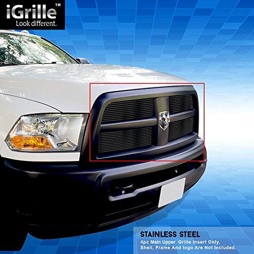 Black Stainless Steel eGrille Billet Grille Grill For 2010-2012 Dodge Ram - Grille 2011 Dodge 3500