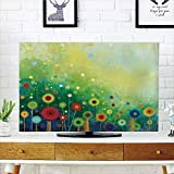 iPrint LCD TV dust Cover Customizable,Watercolor Flower Home Decor,Retro Round Seasonal Blooms Floret Petal Cloudy Botany Scenery,Green,Graph Customization Design Compatible 37'' TV