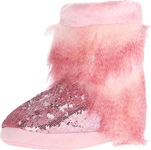 (Blazin Roxx Women's Sequin Boot Slippers, Pink Faux Fur, S )