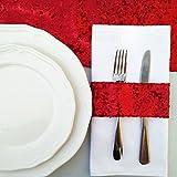 TRLYC 100pcs Shimmer Glitz Wedding Sequin Napkin 5.5cm x 14.0cm -Red