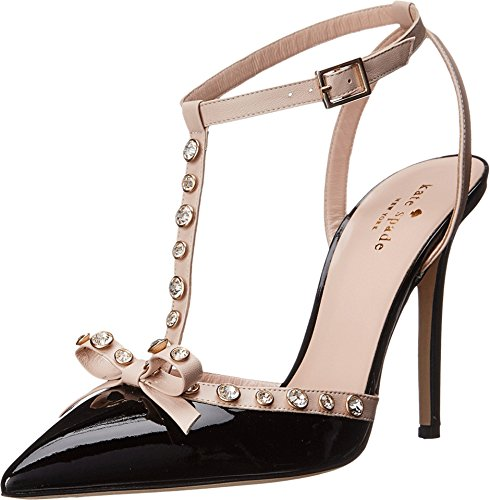 Kate Spade New York Women's Lydia, Black Patent/Pale Pink Nappa, 8.5 M US