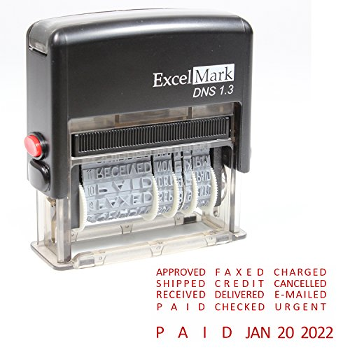 Plus Inking Self 2000 (ExcelMark Self-Inking Stock Message Date Stamp – DNS 1.3 (Red Ink))