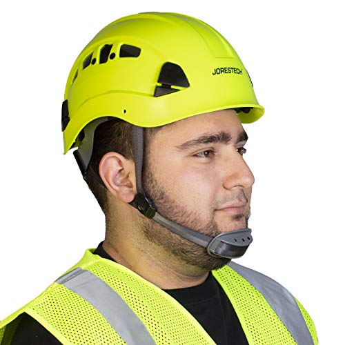 PPE By JORESTECH - ABS Work-At-Height and Rescue Hard Hat Slotted Ventilated Helmet w/Adjustable Ratchet 6-Point Suspension ANSI Z89.1-14 (Lime) by JORESTECH  (Image #1)