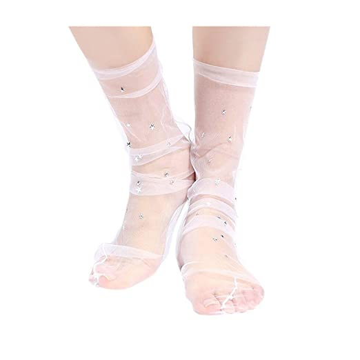 9fbb4d377 Mr.Macy New Fashion Women Fashion Glitter Star Soft Mesh Sock Transparent  Elastic Sheer Ankle