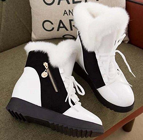 Stivali Donna Inverno Inverno Caldo Stivali Di Pelliccia Di Pelle Di Volpe Alta Alta Scarpe Casual Bianco