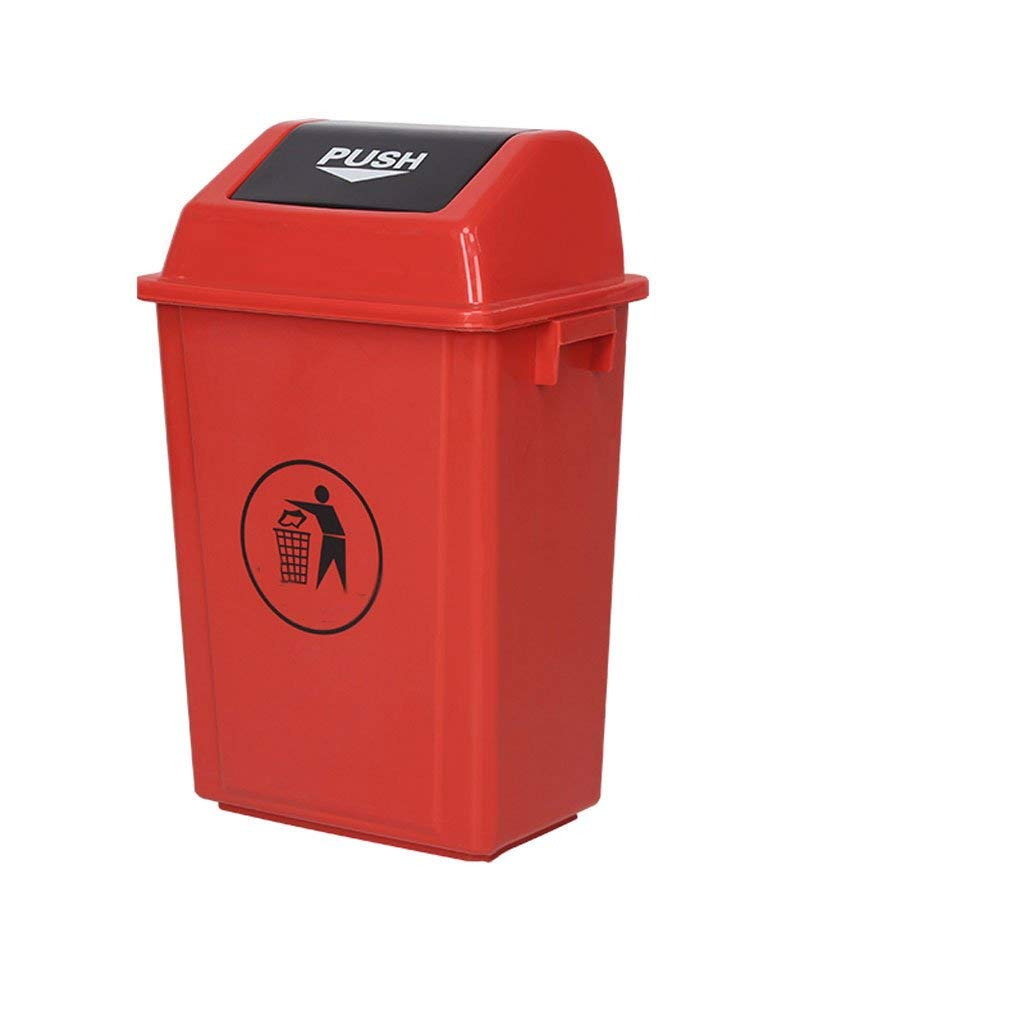 Wastebaskets Large Outdoor Garbage Can, Rectangular Garbage Can with Plastic Cover, Commercial Garbage Can (80L) (Color : Red, Size : 100liter)