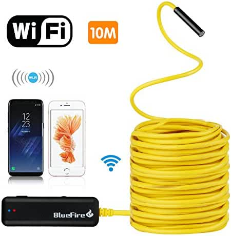 BlueFire Semi-rigid Flexible Wireless Endoscope IP67 Waterproof WiFi Borescope 2 MP HD Resolutions Inspection Camera Snake Camera for Android and iOS Smartphone, iPhone, Samsung, iPad, Tablet ( 10M)