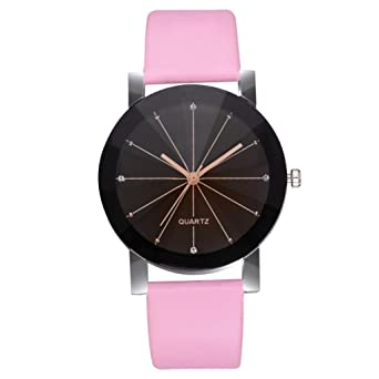 Amazon.com: Womens Watch,Fashion Crisscross Pattern Analog Wristwatch Leather Quartz Strap Watch Axchongery (Pink 1): Cell Phones & Accessories