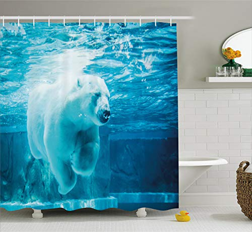 - Ambesonne Bear Shower Curtain, Arctic Polar Bear Dipping into Water Swimming Ursus Maritimus Underwater View, Fabric Bathroom Decor Set with Hooks, 75 inches Long, Blue