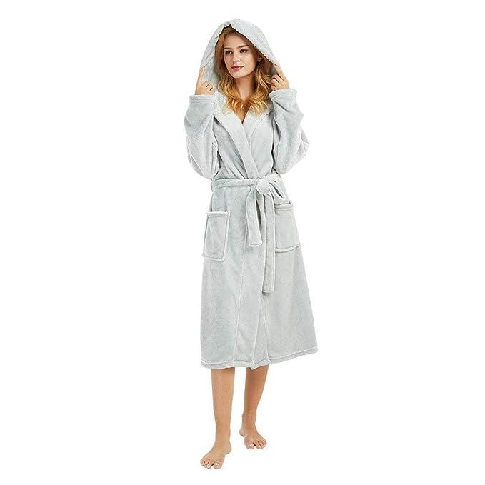 Albornoz Mujer Ducha Enaguas para Vestidos Largos POLP Pijamas Caliente con Capucha Albornoz con Cordones Abrigo