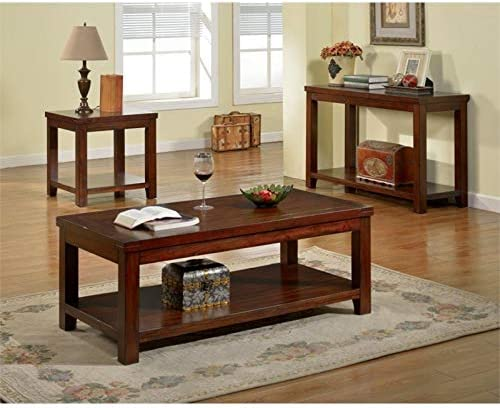 Home Square 4 Piece Farmhouse Barn Door TV Stand Console Coffee Table and 2 End Table Living Room Set in Rustic Gray Oak