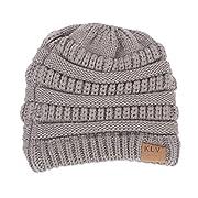 IEason Knit Hat, Women Baggy Warm Crochet Winter Wool Knit Ski Beanie Skull Slouchy Caps Hat (Gray)