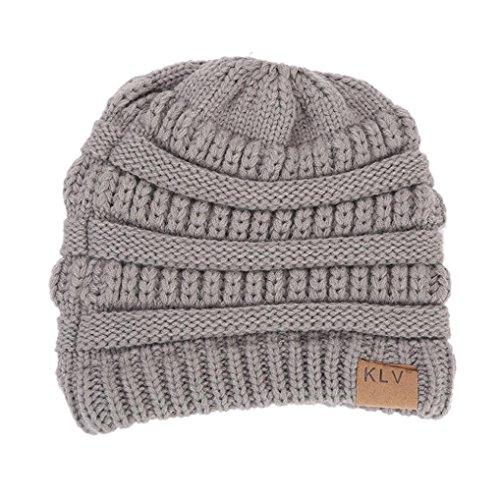 Crochet Baby Ear Flap Hat - IEason Knit Hat, Women Baggy Warm Crochet Winter Wool Knit Ski Beanie Skull Slouchy Caps Hat (Gray)