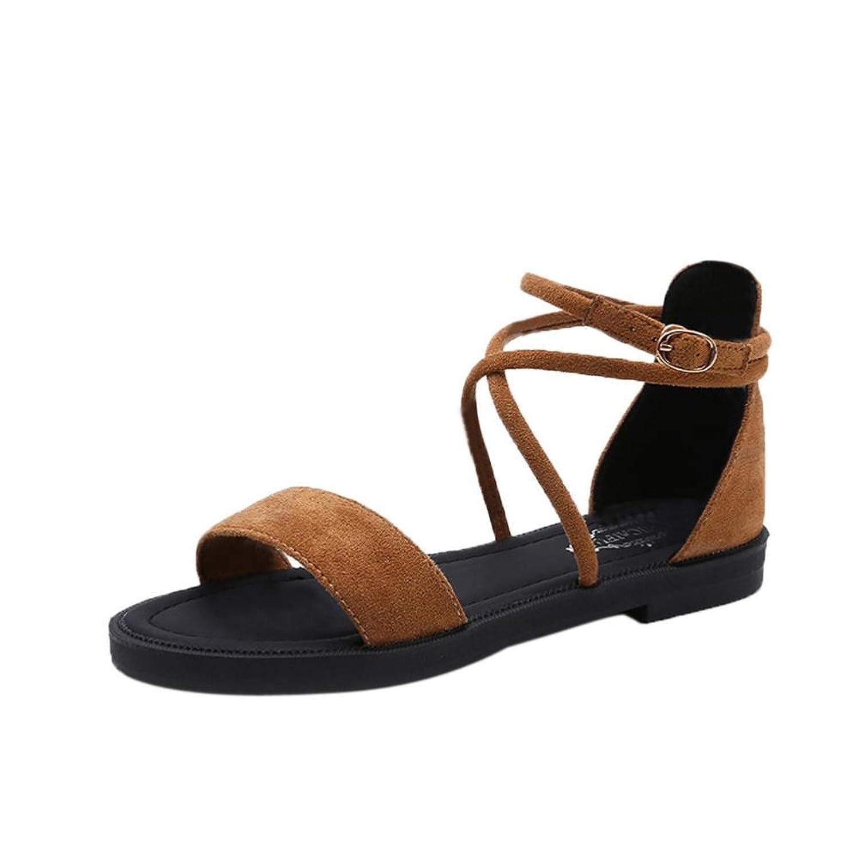Chaussures Sandales Femmes Open Toe Pied Plat Grande Taille Bretelles Romain, Marron, 50